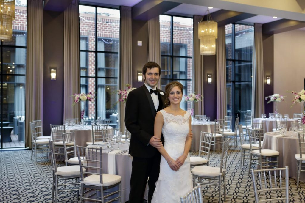 Ballroom with Bride and Groom