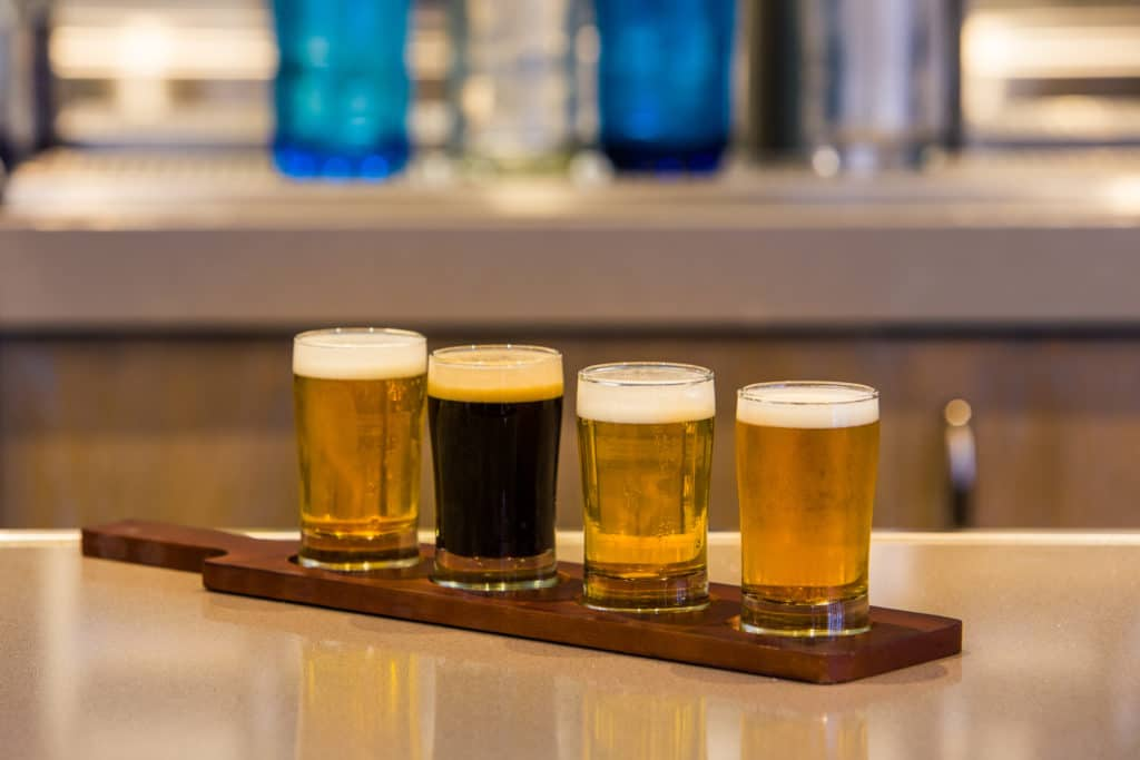 Drinks in a row on tray