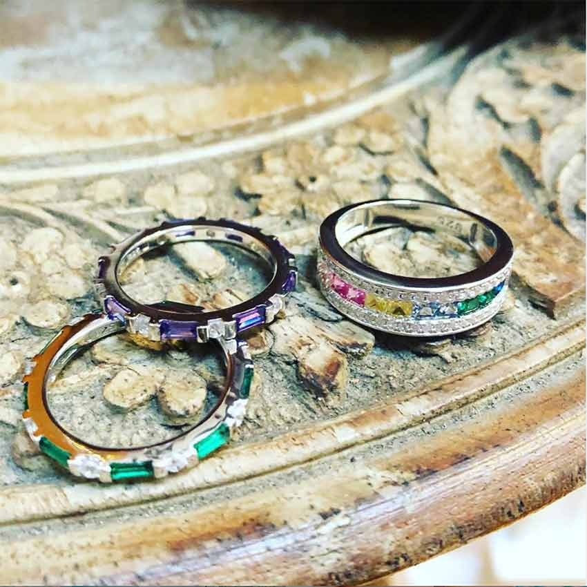 Eternity color-pop bands for stacking fun. Sterling silver and crystal