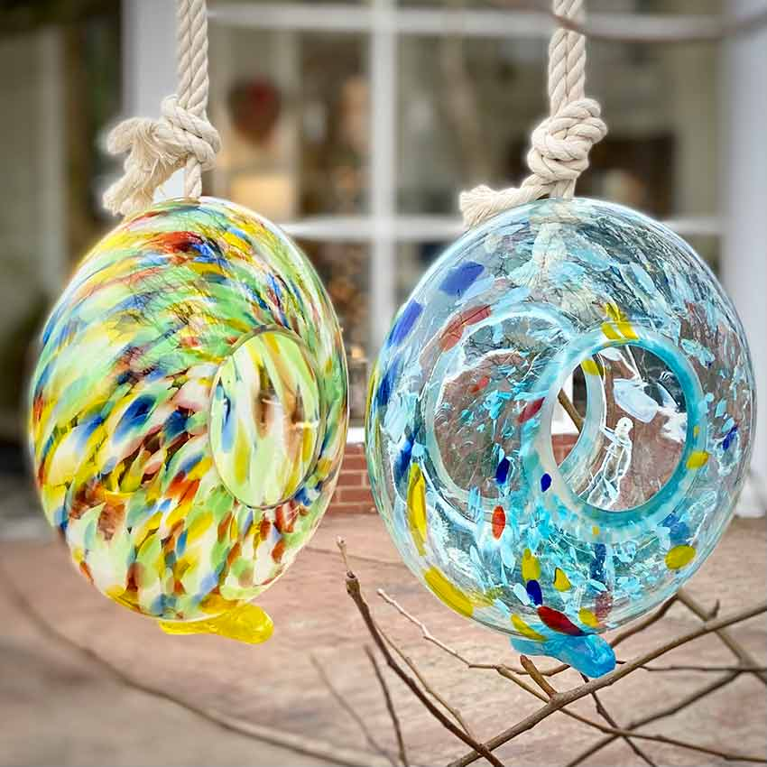 Beautiful blown glass bird feeders